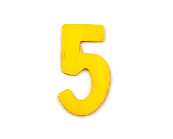 colorful wooden number on white background,5