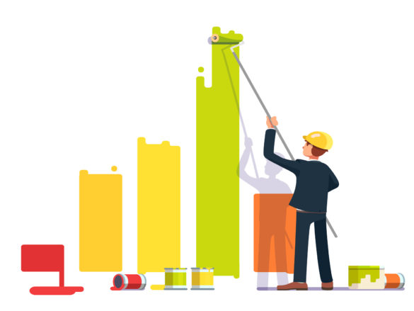 Business man painting bar graph with roller paint. Crisis management metaphor. Flat style modern vector illustration.