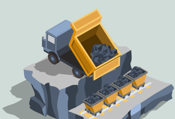 fmg-share-price-fortescue-Dump truck ships coal into coal carts isometric vector