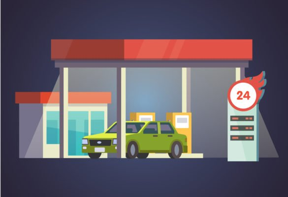 Gas station glowing at night. With store and price board. Flat vector illustration.