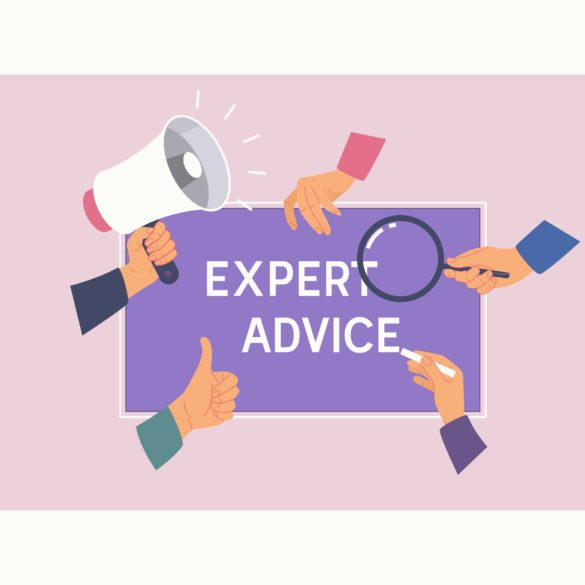 Expert Advice Consulting Service Business Help concept.Female hands and phrase EXPERT ADVICE.Vector illustration