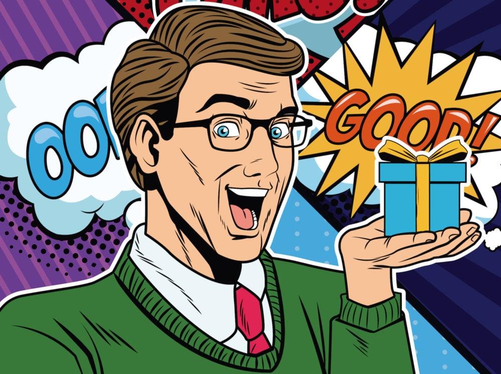 asx-bpt-bpt-asx-beach-energy-Businessman with bubbles pop art cartoon vector illustration graphic design