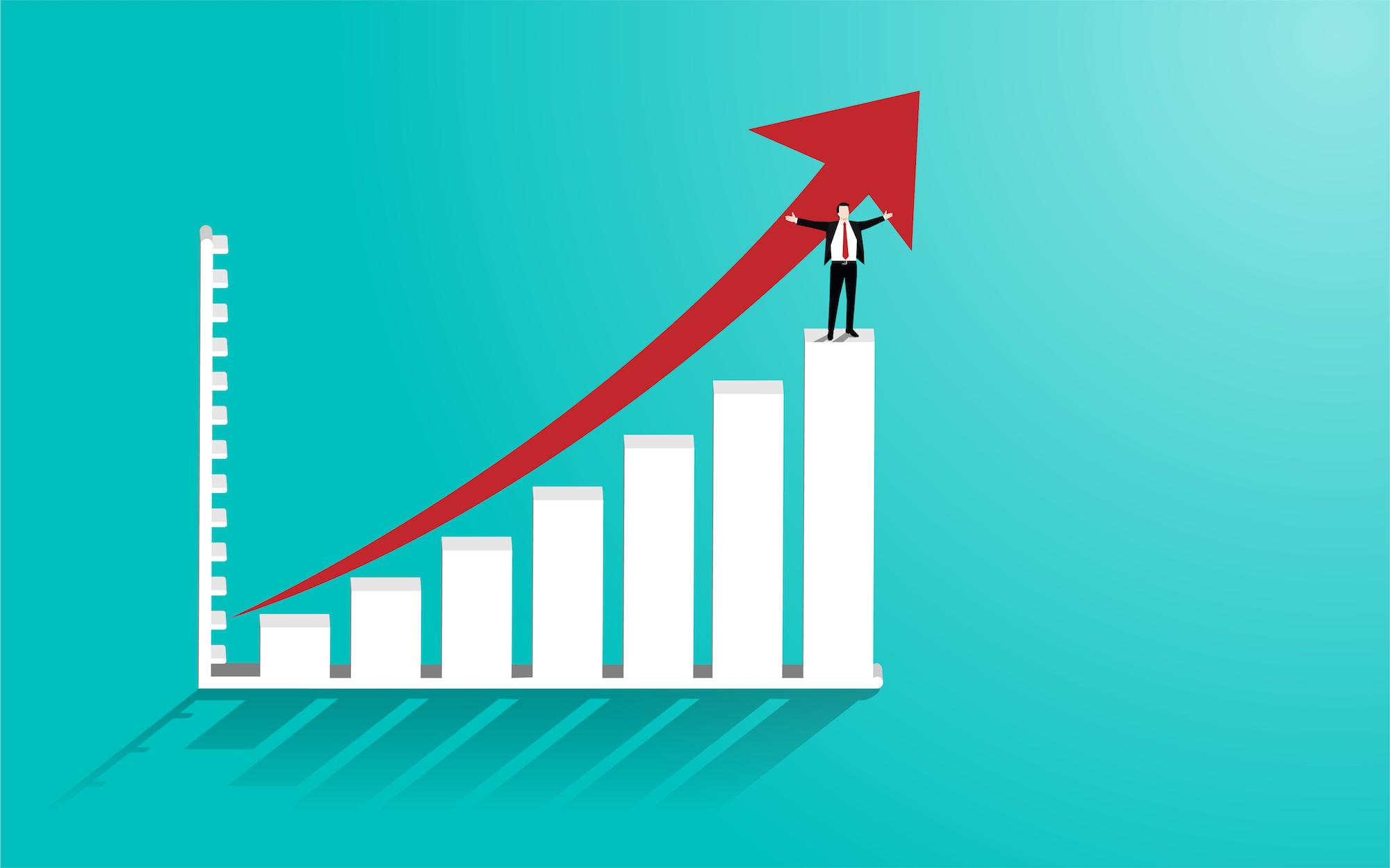 asx-ltd-asx-asx-Happy businessman stand on graph