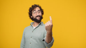 """cba-share-price-nab-share-price-young crazy man making an """"alright"""" or """"okay"""" gesture approvingly with hand, looking happy and satisfied. Positive check sign."""