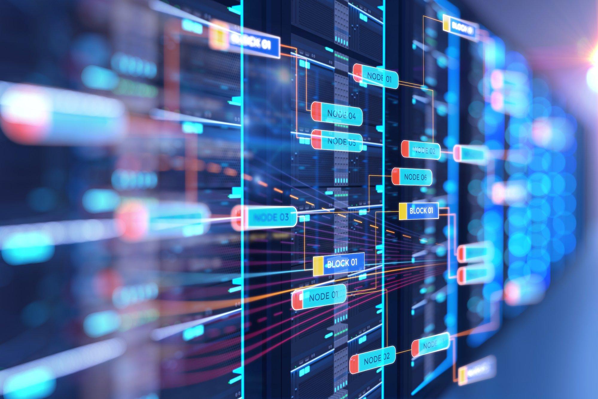 infratil-ift-asx-vodafone-nz-asx-server room 3d illustration with node base programming data design element.