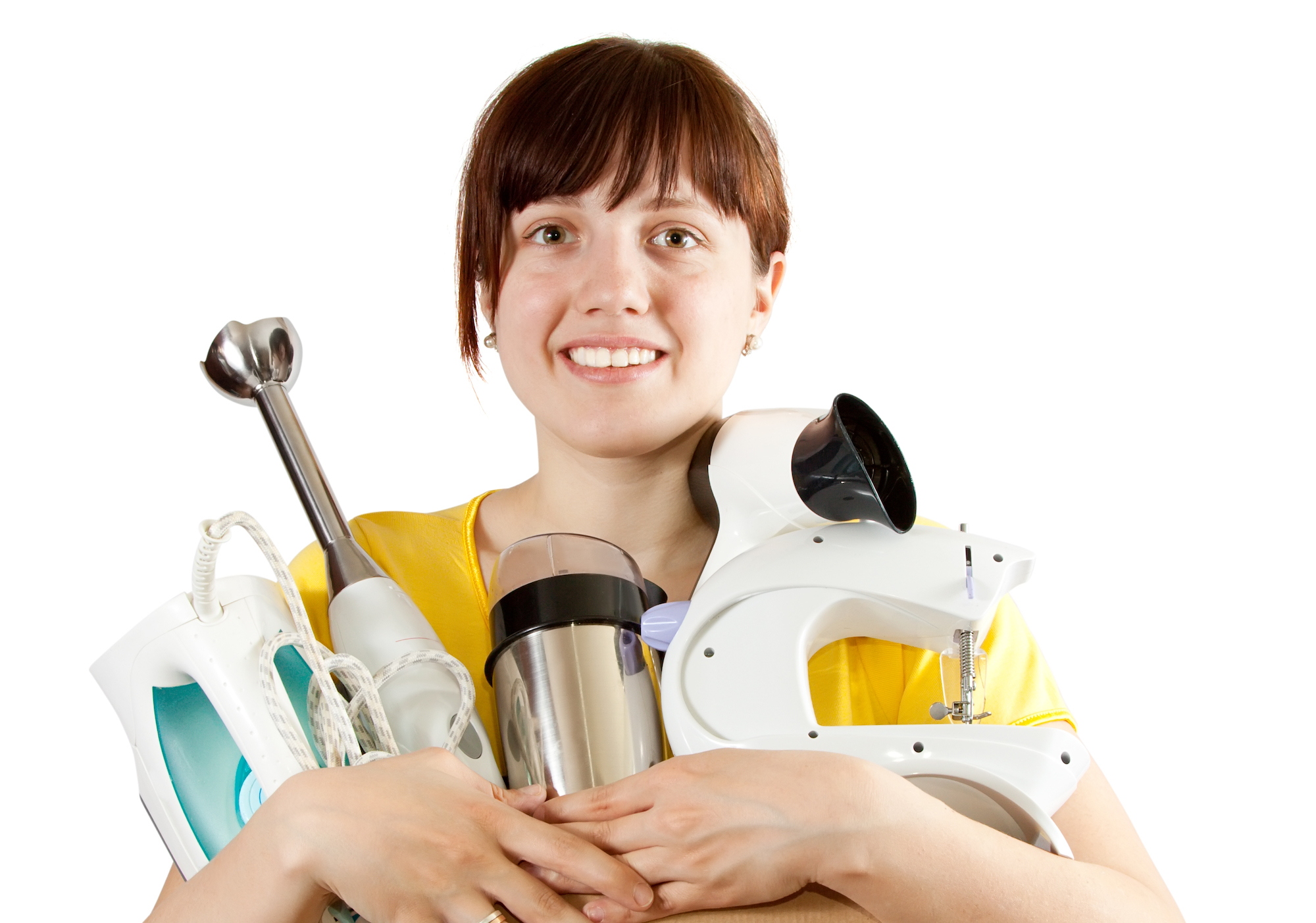 breville. image shows women holding multiple appliances like breville's.