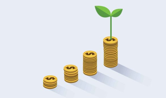 image showing coins (dividends) rising with a plant growing from the final set of four