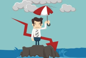 Businessman with umbrella standing in the sea , eps10 vector format